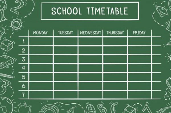 Thời khóa biểu tuần 1 năm học 2019-2020